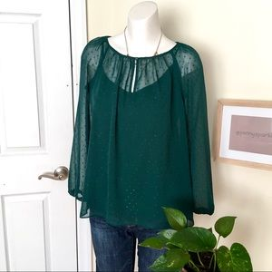 J Crew Point Sur Emerald Green sheer Blouse, Small
